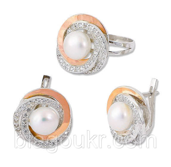 Срібний набір з золотими накладками і перлами 30058