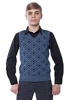 SEWEL Жилет школьный QW272 (42-44, серо-голубой, синий , 50% шерсть/ 50% акрил)