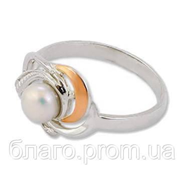 Женское серебряное кольцо с золотой пластиной и жемчугом