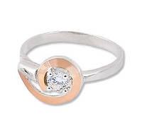 Серебряное кольцо с золотой накладкой