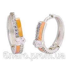 """Срібні сережки з золотими накладками """"30075с""""."""