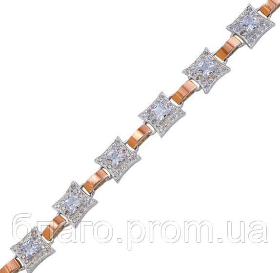 """Срібний браслет жіночий з золотими пластинами """"30006"""""""