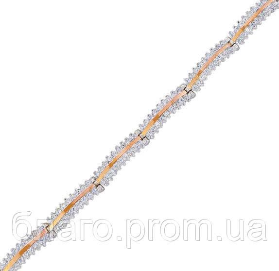 """Срібний браслет жіночий з золотими пластинами """"30025"""""""