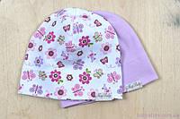 Набор детских трикотажных шапочек, Цветы, 3 размера, 42-54 см, фото 1