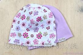 Набор детских трикотажных шапочек, Цветы, 3 размера, 42-54 см