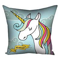 подушка с принтом єдиноріг