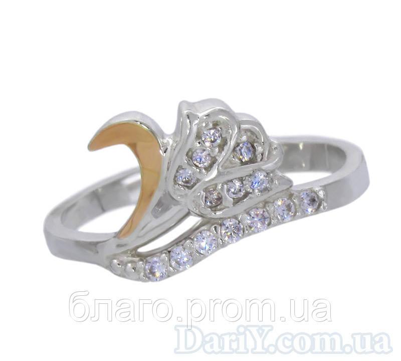 """Женское серебряное кольцо с золотой пластиной """"Аленький цветочек"""""""