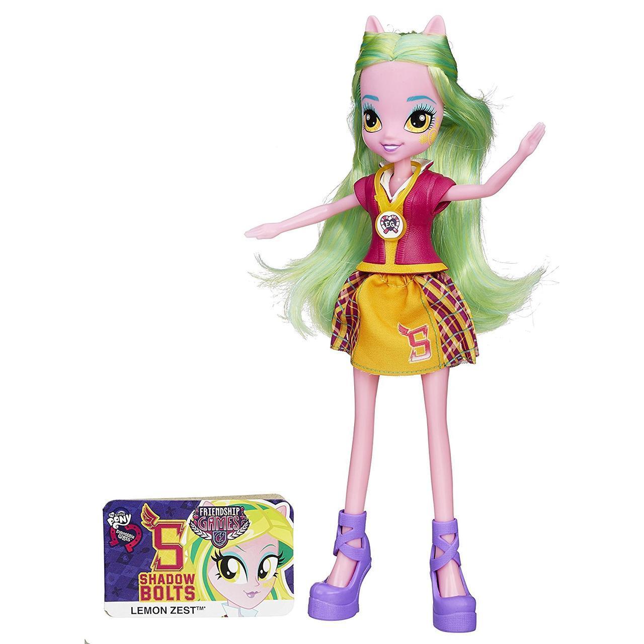 My Little Pony Девушки эквестрии Лемон Зест школьный дух Май Литл Пони Lemon Zest Friendship Games