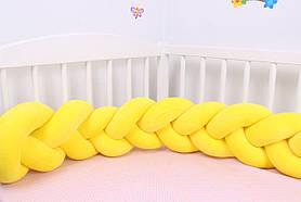 Бортик косичка в кроватку желтая 15х120 см
