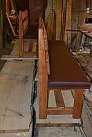 Лавка под старину ( со спинкой, отделка сидения мягкой частью)