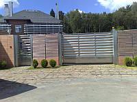 Откатные ворота жалюзи из ламелей 3500х2000 , фото 1