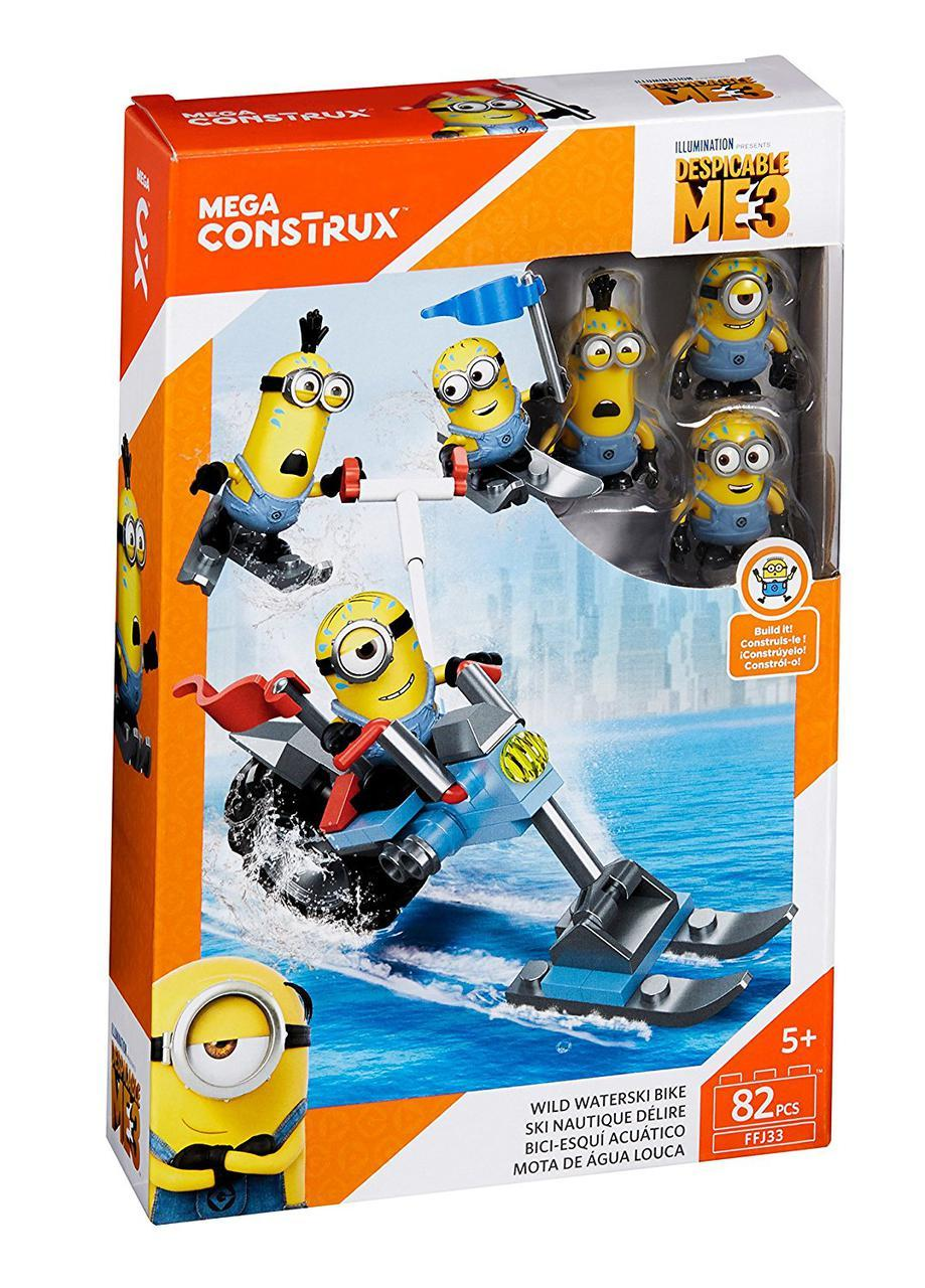 Мега Блокс Конструктор Миньоны на водном мотоцикле и лыжах Mega Construx Despicable Me Wild Waterski Bike