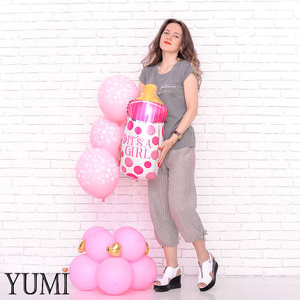 Композиция: бутылочка Its a girl и 3 розовых шарика Baby на подставке из 8 розовых шаров, фото 2