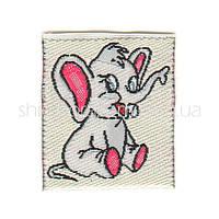 Пришивная вышивка Слоненок (резанная) белый