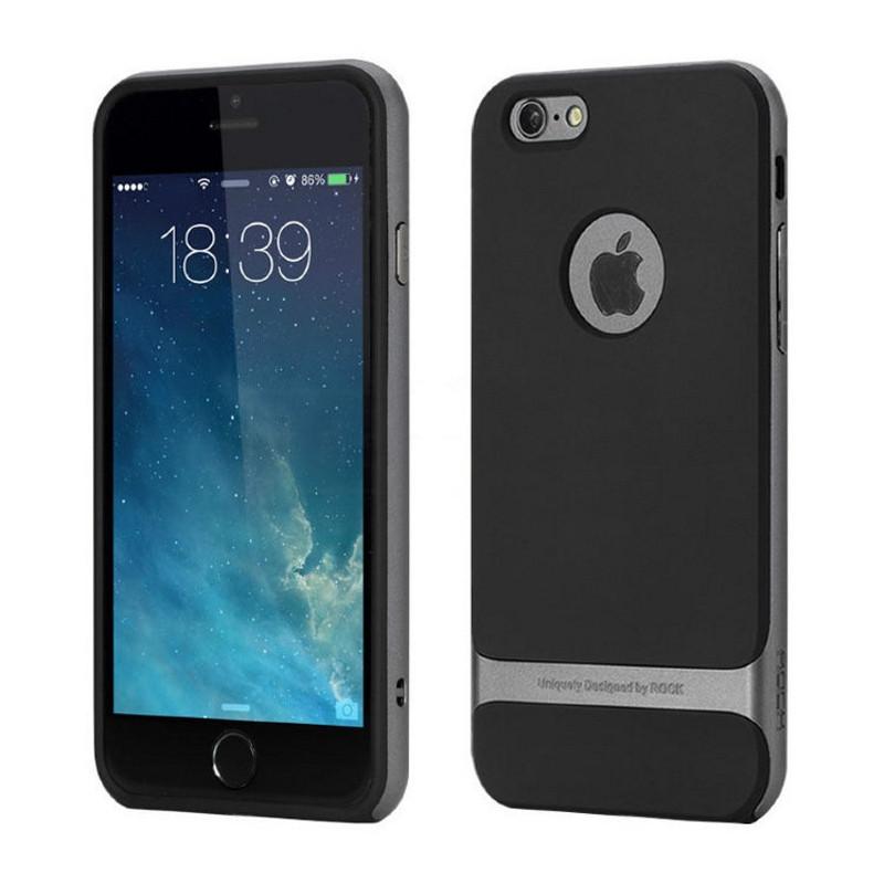 """Чохол-накладка ROCK для iPhone 7 (4.7"""") Royce ser. TPU+PC Чорний/сірий"""