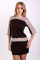 SEWEL Платье PS601 (L, темно-коричневый, бежевый, 60% вискоза/ 35% полиэстер/ 5% эластан)