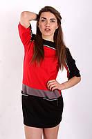 SEWEL Платье PS601 (S, красный, черный, темно-бежевый, 60% вискоза/ 35% полиэстер/ 5% эластан)