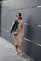 Женский трикотажный костюм с юбкой, шерстяной костюм женский