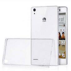 Чохол-накладка TPU для Huawei Ascend P7 Ultra-thin ser. Прозорий/безколірний, фото 2