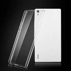 Чохол-накладка TPU для Huawei Ascend P7 Ultra-thin ser. Прозорий/безколірний, фото 3