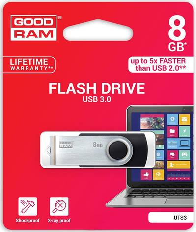 Флеш USB 3.0 GOOD RAM Twister 8GB Чорний/Металік (UTS3-0080K0R11), фото 2