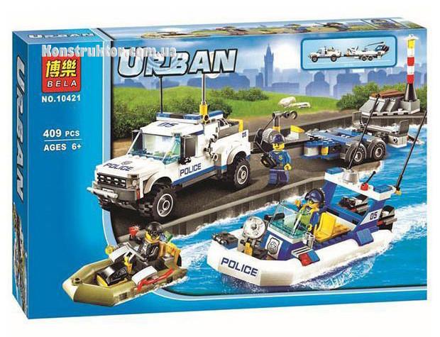 """Конструктор Bela 10421 """"Полицейский патруль"""" Сити, 409 деталей. Аналог LEGO City 60045"""