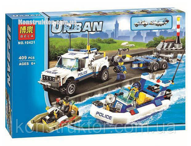 """Конструктор Bela 10421 """"Полицейский патруль"""" Сити, 409 деталей. Аналог LEGO City 60045, фото 1"""