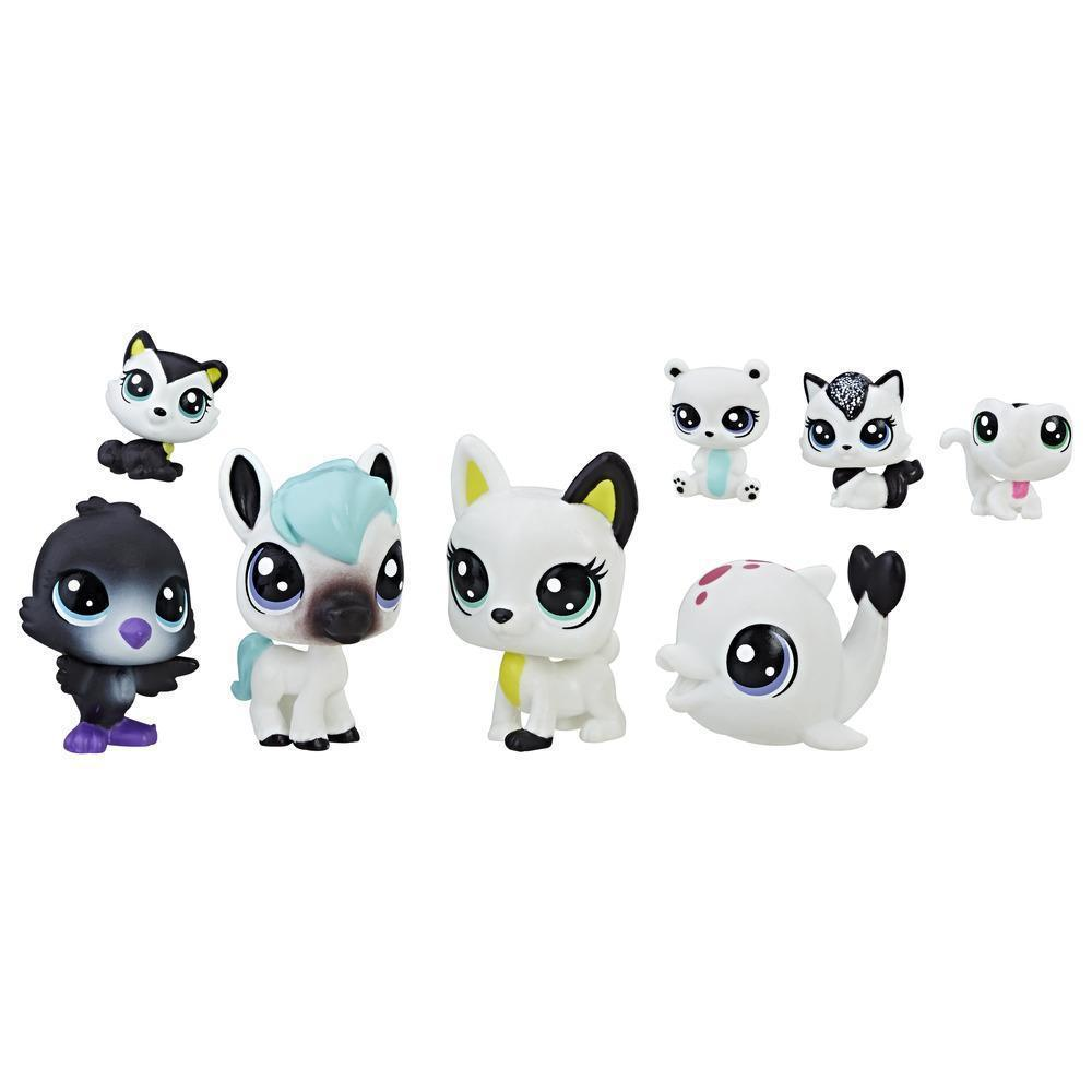Littlest Pet Shop Black & White Лител пет шоп набор из 8 ми зверюшек черно - белая серия 3 Pet Friends