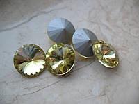Риволи стеклянный, Круглый граненый, светло/желтый , 16 мм