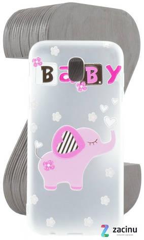 Чохол-накладка TPU для Samsung J330 J3(2017) Fashion ZOO ser. Слон(Baby) Прозорий/матовий, фото 2
