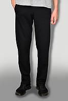 Мужские теплые штаны на зиму ткань Турция цвет насыщенно черный с начёсом карманы на замках