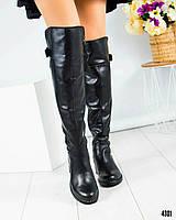 Ботфорты женские кожаные черные