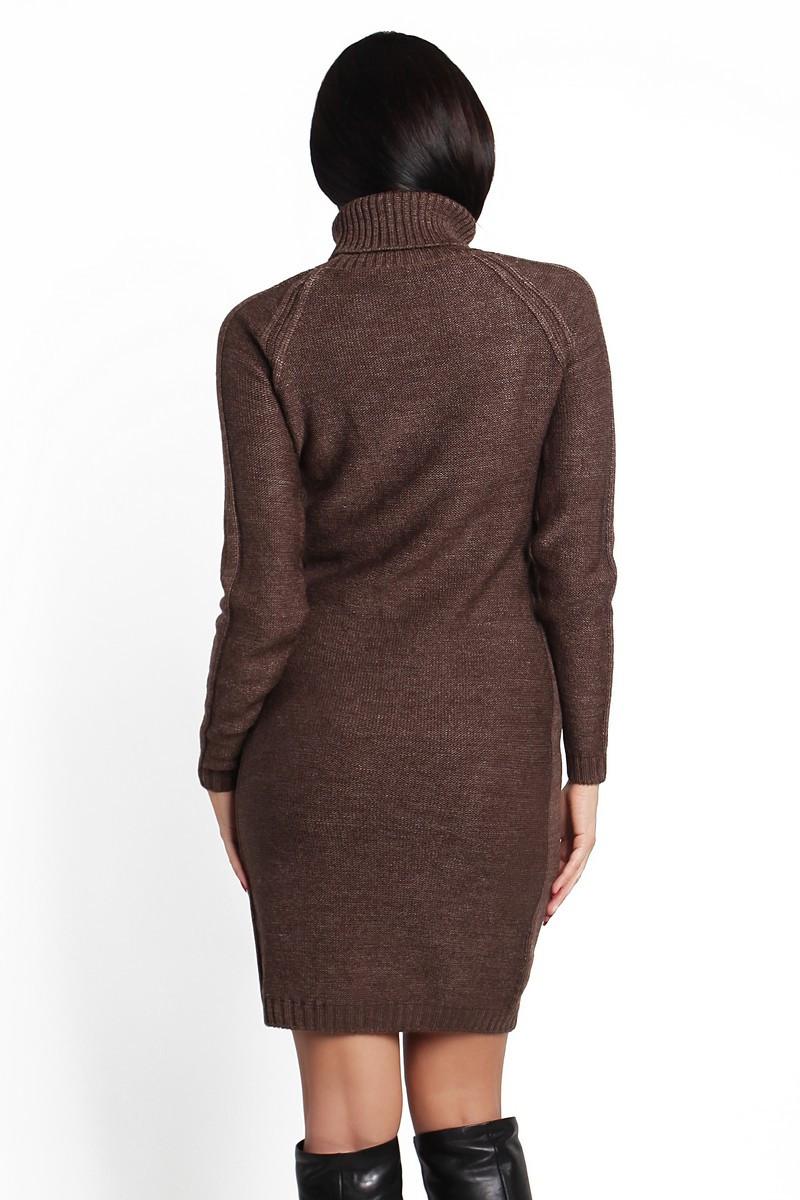 SEWEL Платье PW211 (44-46-48, коричневый, 60% акрил/ 30% шерсть/ 10% эластан)