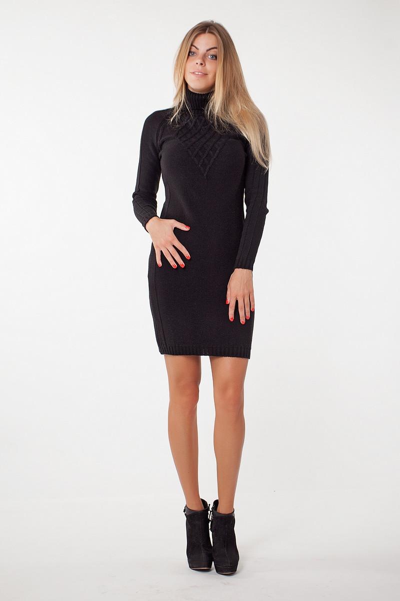 SEWEL Платье PW211 (44-46-48, черный, 60% акрил/ 30% шерсть/ 10% эластан)