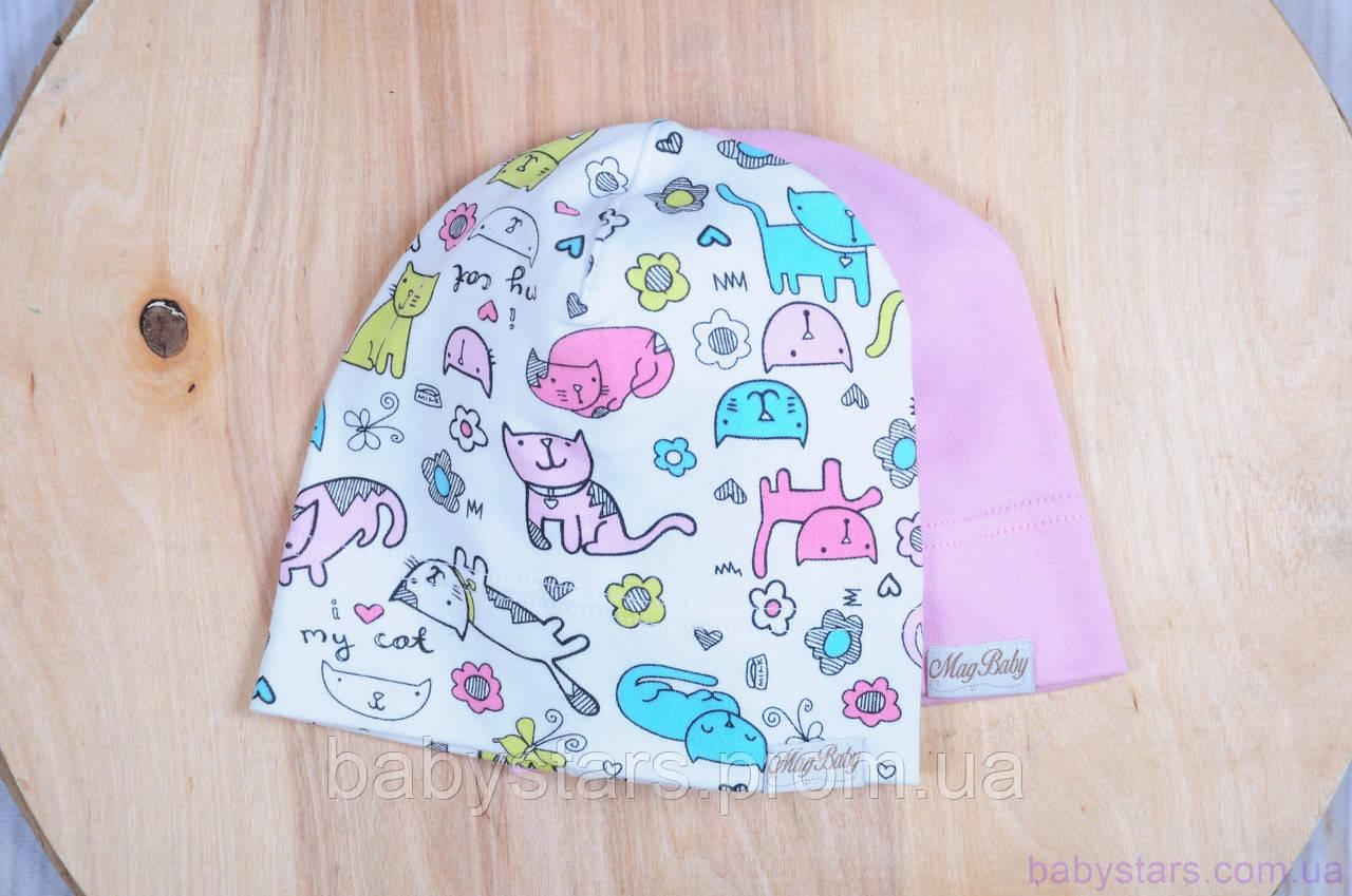Набор трикотажных шапок, Кошечки, 3 размера, 42-54 см