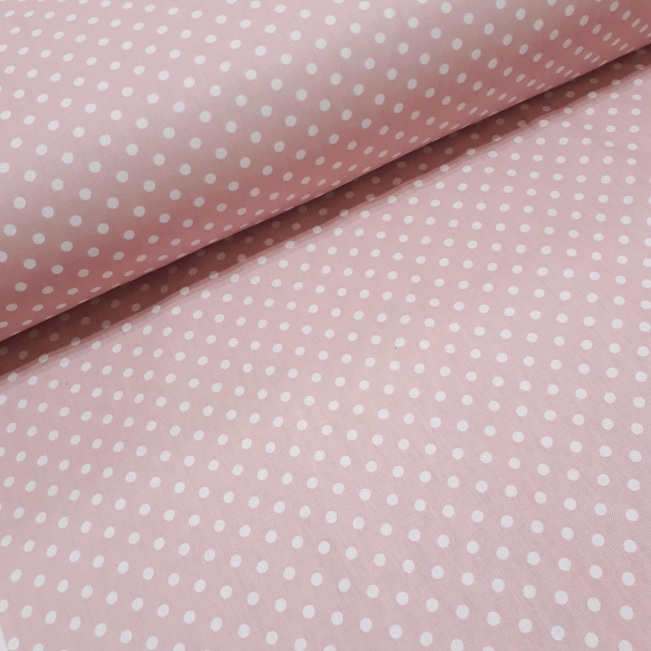 Ткань поплин с белым горошком на пудро-розовом 6мм (ТУРЦИЯ шир. 2,4 м) №32-54