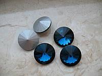 Риволи стеклянный, Круглый граненый, темно/голубой , 16 мм