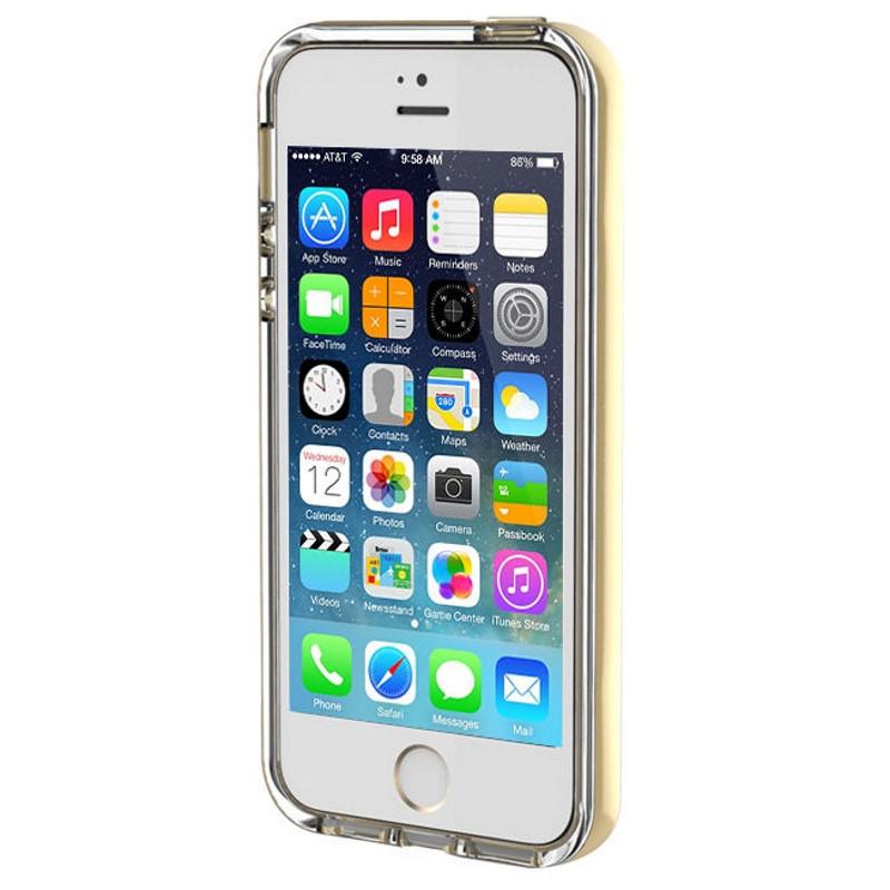Чехол накладка ROCK для iPhone 5 / 5S / SE Light Tube ser. Золотистый / прозрачный (670107)