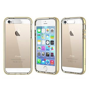 Чехол накладка ROCK для iPhone 5 / 5S / SE Light Tube ser. Золотистый / прозрачный (670107), фото 2