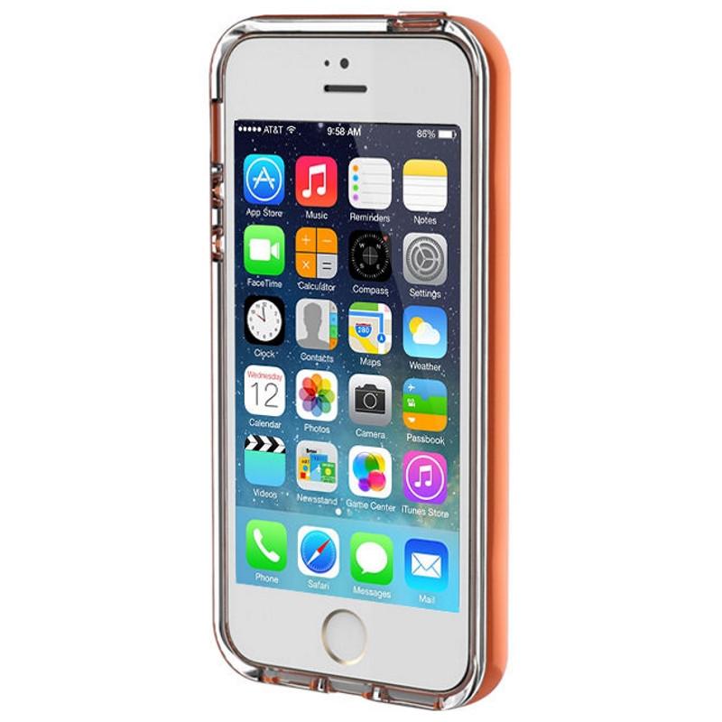 Чехол накладка ROCK для iPhone 5 / 5S / SE Light Tube ser. Оранжевый / прозрачный (670084)