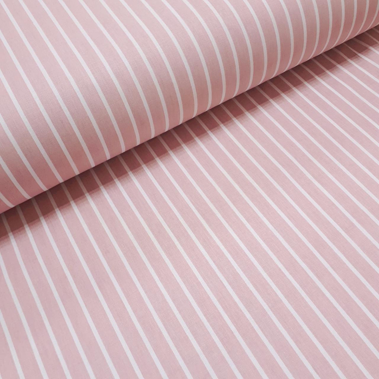 Ткань поплин с белой полоской на пудро-розовом (ТУРЦИЯ шир. 2,4 м) №32-56