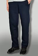 Штаны мужские очень теплые карманы на замках трикотажные темно синие ткань турция