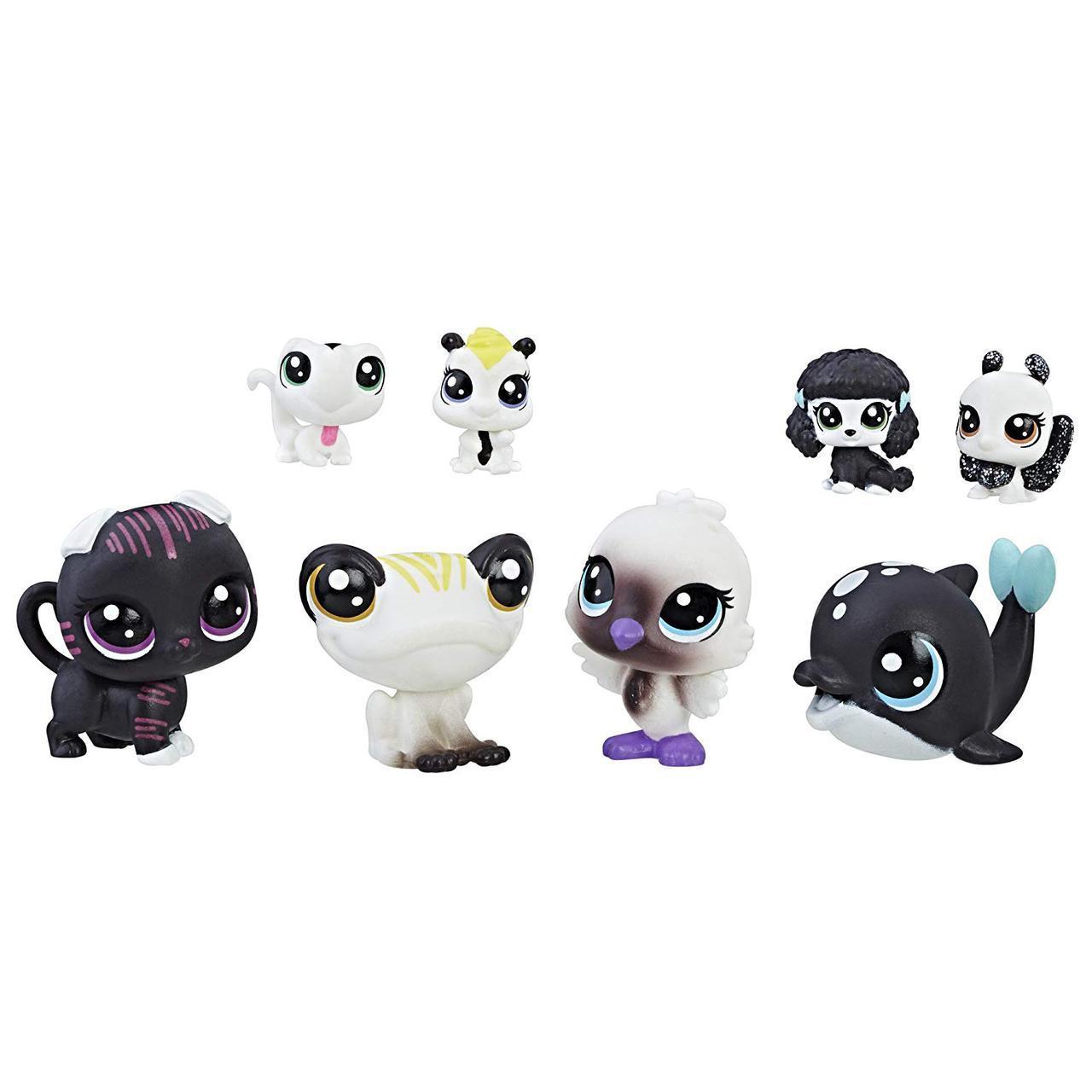 Лител пет шоп набор из 8 ми зверюшек черно - белая серия Littlest Pet Shop Black & White Pet Friends