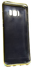 Чехол накладка для Samsung G955 S8 Plus TPU Имитация кожи Черный, фото 3