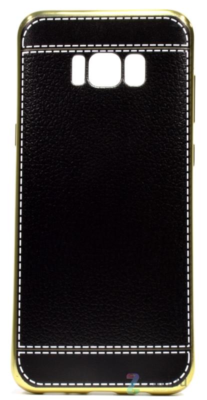 Чехол накладка для Samsung G955 S8 Plus TPU Имитация кожи Черный