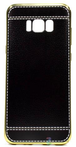 Чехол накладка для Samsung G955 S8 Plus TPU Имитация кожи Черный, фото 2