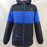 Ветровка мужская  в стиле Under Armour / демисезонная куртка семно-синяя с синей вставкой
