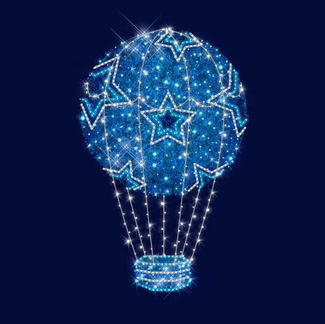 """3D светодиодный воздушный шар """"Звёздный"""" 1,5*2,4*1,5"""