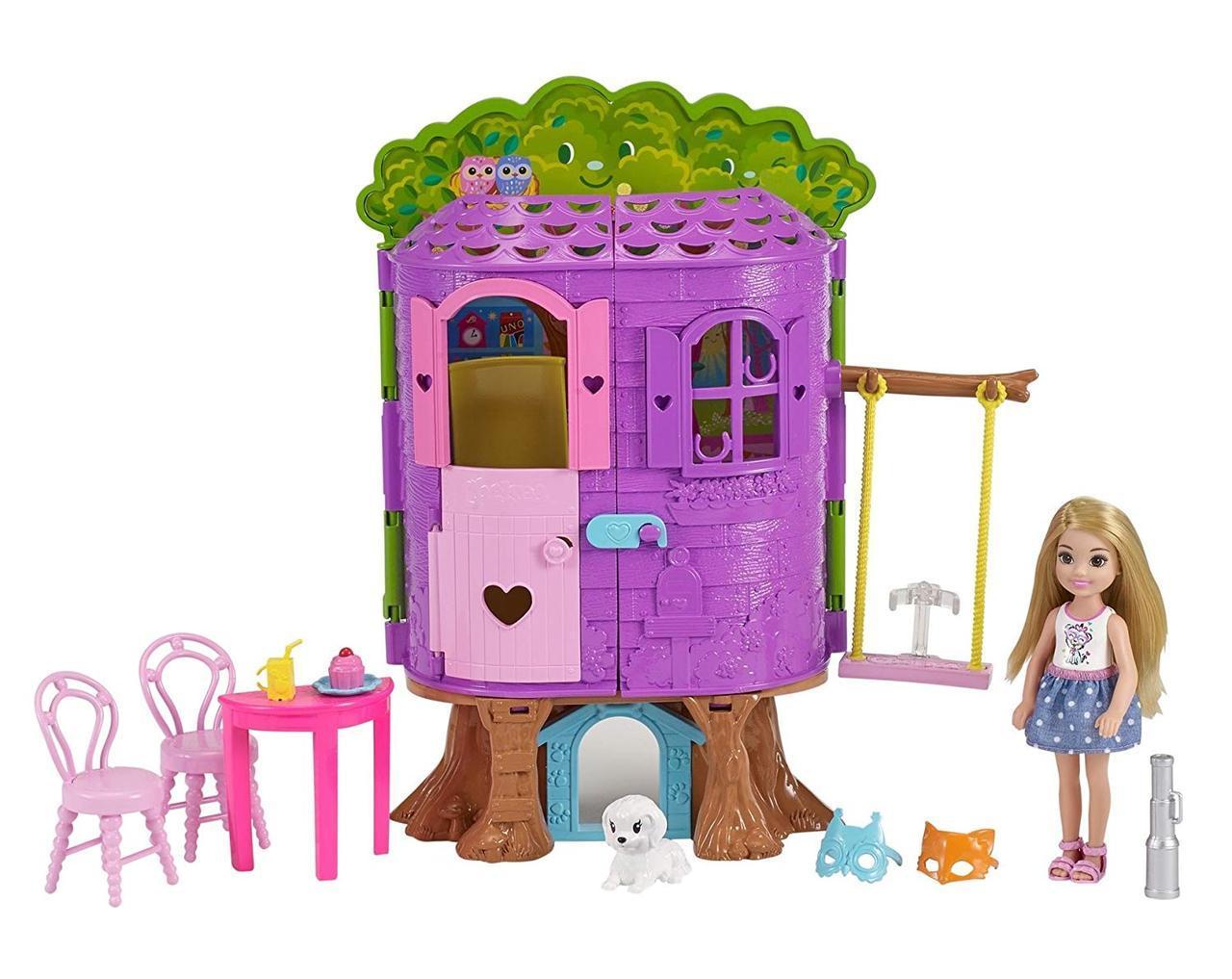 Игровой набор Barbie домик на дереве кукла Челси Barbie Club Chelsea Treehouse Playset