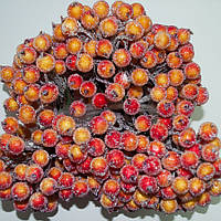 Калина декоративная красно-оранжевая сахарная, соцветие из 40 ягод, диаметр ягоды 12мм, длина проволоки 12см